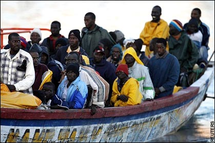 African boat people heading for the UK via the Canaries.