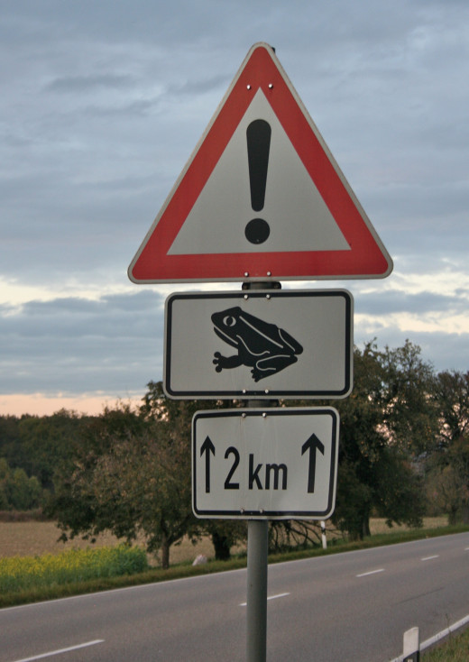 Actual warning sign on two-lane highway in Germany