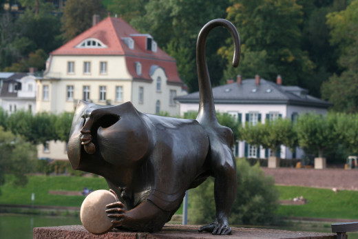 Cat sculpture near bridge in Heidelberg, Germany