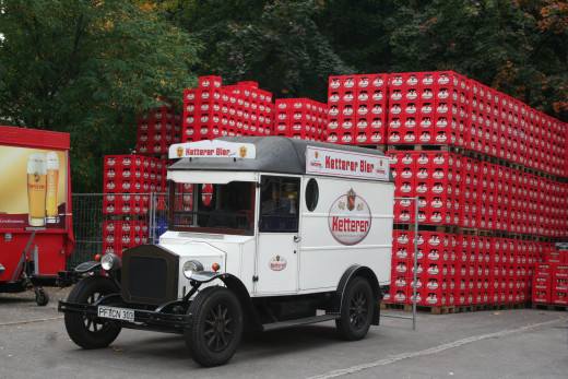 Old beer wagon by brewery - Pforzheim, Germany