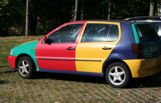 Multi-colored car in front of art studio - Ettlingen,Germany