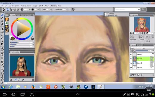 Detailing the eyes.