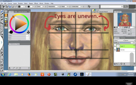 Eyes are uneven.