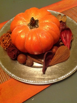 Here is one of the miniature pumpkins decorated for Halloween.