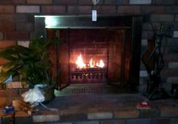 Authentic wood-burning fireplace