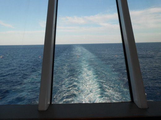 View from the back of the cruise ship from the lounge in thermal spa.
