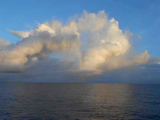 A rainbow over the Atlantic Ocean.