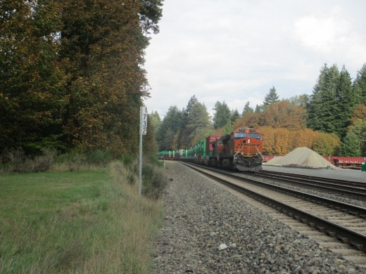 Distributive Power Units or DPU on Eastbound Stack train at Skykomish WA