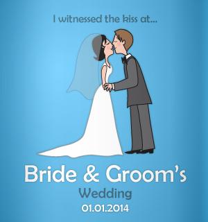 Cartton couple, cute design idea for your wedding koozies!