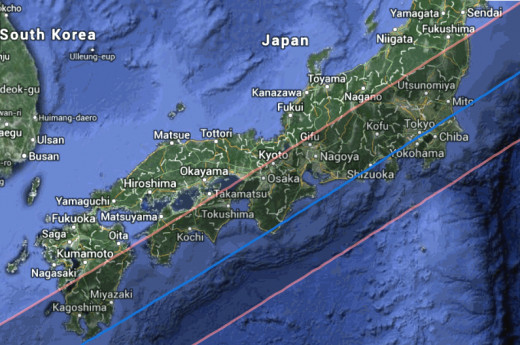 May 20, 2012 annular eclipse path off the coast of Japan.