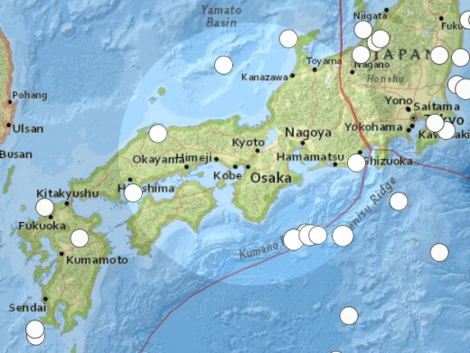 Map of southern portion of Japan displaying 6.2 or greater earthquakes since the year 2000.  When there is an earthquake free zone surrounded by a ring of quakes, the center of that ring is a likely epicenter for a more substantial future earthquake.