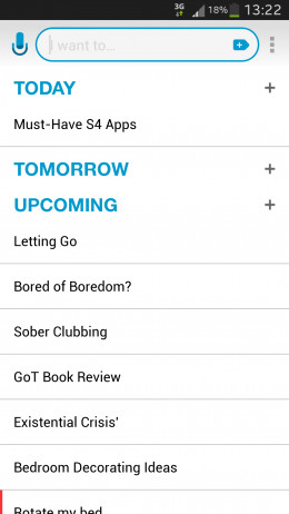 This is the list of things I have currently on my app as a reminder. This is the elegant white and blue theme.