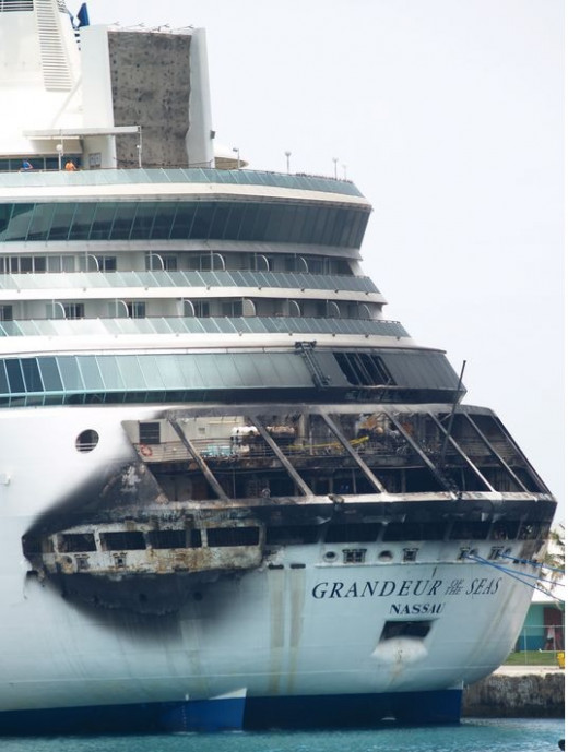Fire-damaged cruise ship