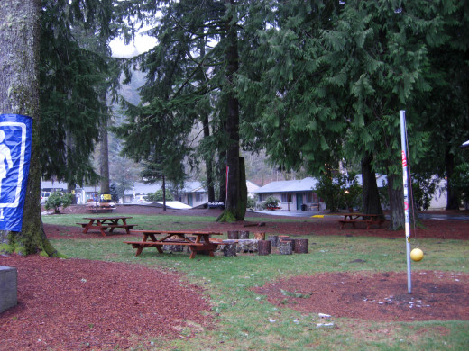 Tether ball, and picnic benches used for meals in the summertime.