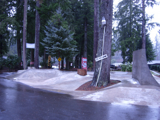 The skate park, between two rows of cabins.