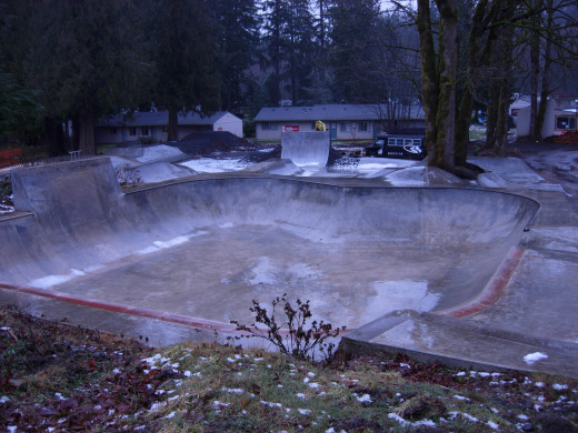 The skate park near the outdoor trampoline.