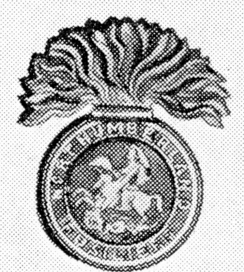 "Northumberland Fusiliers' cap badge. On the grenade St. George and the Dragon, within an inscribed circle. ""The Shiners,"" from smart appearance in Seven Years' War."