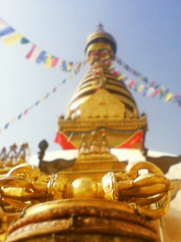 Vajra installed in the entrance of a Buddhist temple in Kathmandu, Nepal