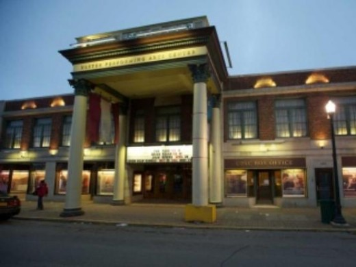 The front of Ulster Performing Arts Center, formerly a movie theater.