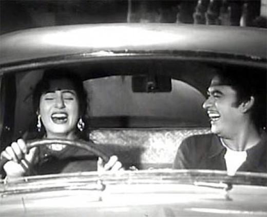 Madhubala with Kishore Kumar in Chalti ka naam gadi