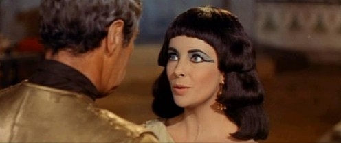 "Elizabeth Taylor in the film trailer for ""Cleopatra."""