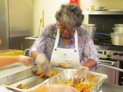 Doris and Justine along with other staff members worked together to prepare the meals for this special event.
