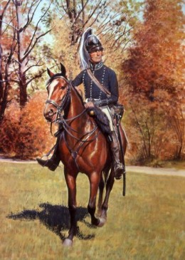 """US Light Dragoons were our only """"cavalry"""" arm until 1855. Prior to being dissolved the 1830s, they wore leather helmets."""