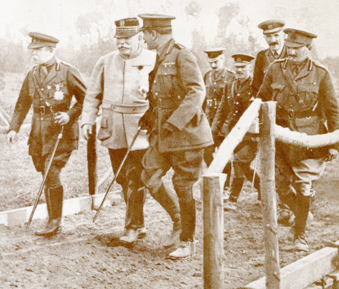 General Joffre with Sir John French and Sir Douglas Haig at the front.
