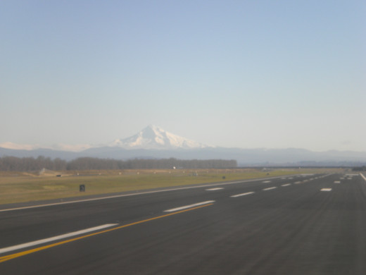 Landing at the Portland International Airport.