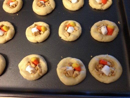 Cookies topped and ready to bake