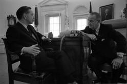 Carl Albert (left) with President Lyndon Johnson