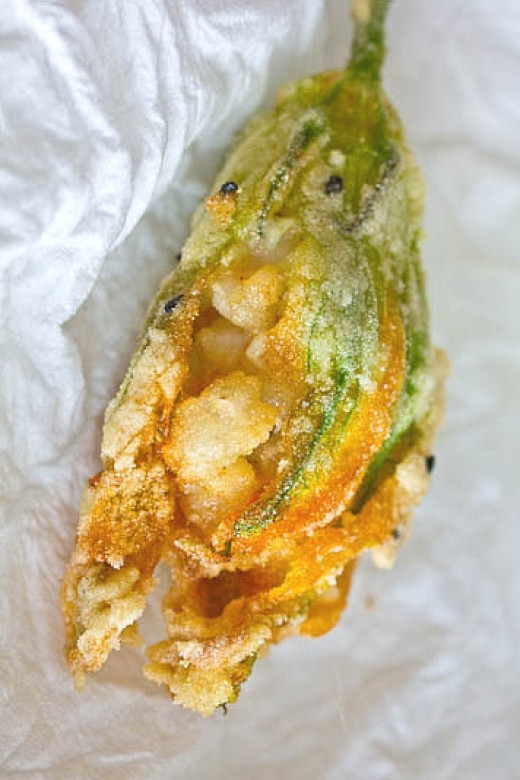 Squash and pumpkin blossoms are very nutritious with low calories and no fat. They can be filled and deep fried. See two great recipes here