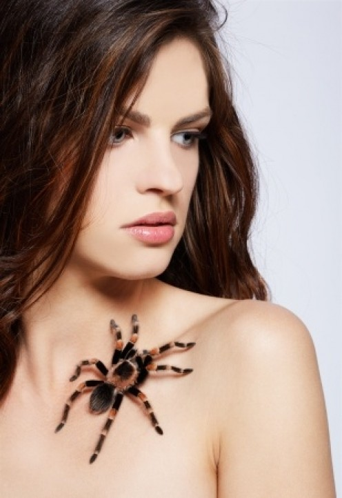 Image of woman with a fury spider on her body.