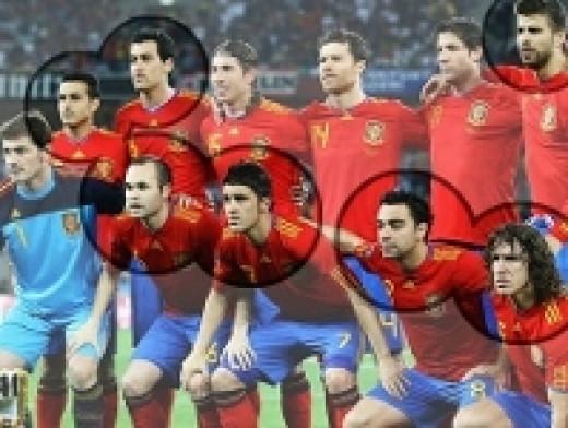 Barcelona players in Spanish kit