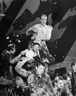 The pie fight. Cut from the finished film.