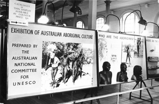 Panel from the Exhibition of Australian Aboriginal Culture,  Queensland Museum, Brisbane, Autumn of 1959.