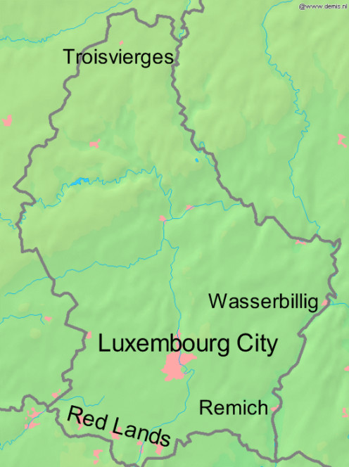 Map of Luxembourg with Wasserbillig marked