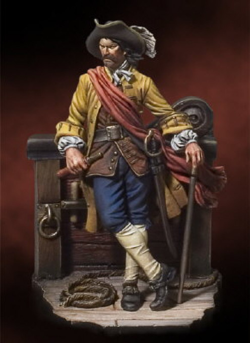 This is a rendering of a pirate that some historians believe was simply a privateer.  Can you name him?