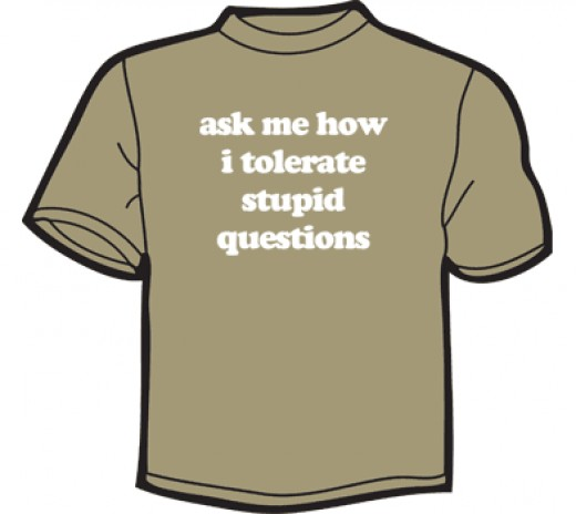 T-shirt: Ask me how I tolerate stupid questions (image source: www.noisebot.com)