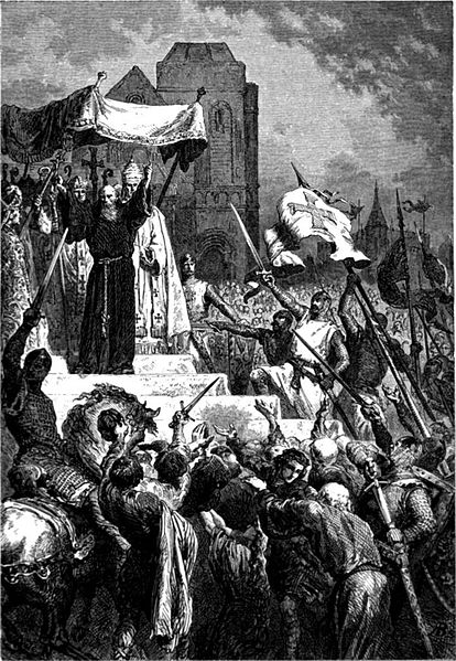 Pope Urban II, preaching the Crusade