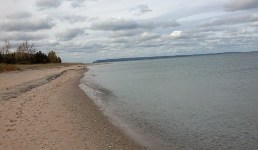Nice walk along lake in Glen Haven. You can see South Manitou Island in distance.