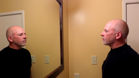 Sorry, the bathroom mirror is the only mirror in my extended stay apartment in Albuquerque, NM.