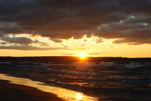 Sunset over Lake Michigan