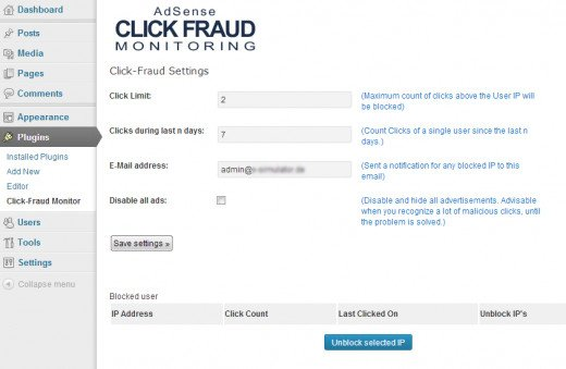 Using this plugin you can block a certain ip address from clicking your ads above a specified number