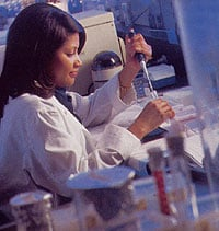 Kesha Forrest at work in the lab.