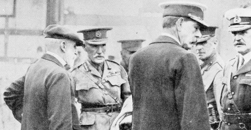 General Smith-Dorrien (in centre) with his Staff officers embarking at Folkestone for the front.