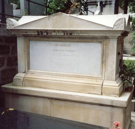 Tomb of Marie Duplessis in Montmartre Cemetary. The inscription on the stone says Alphonsine Plessis