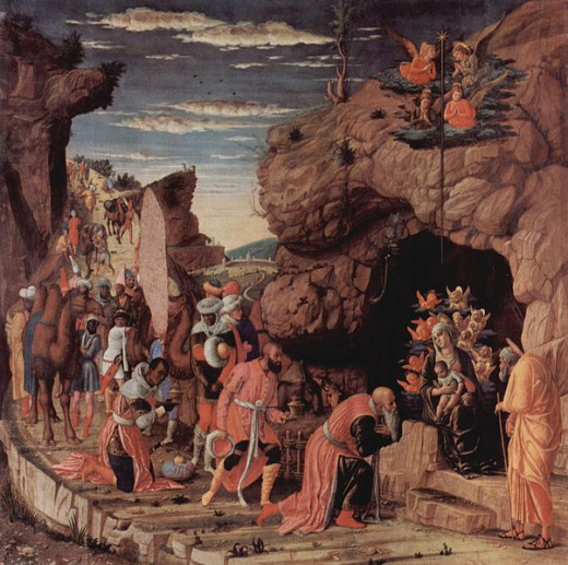 The Adoration of the Magi (1462-1464, Gallery of Uffizi) is one of the first works executed by Mantegna at the court of Ludovico Gonzaga. It was destined to the chapel of the Castello San Giorgio, designed by the florentine architect Luca Fancelli.