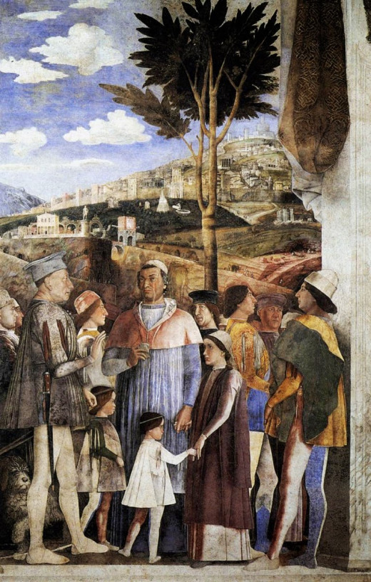 Camera degli Sposi, the Meeting Between Ludovico and Francesco Gonzaga (1467 - 1474), west wall.