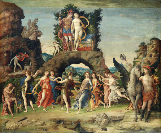 Parnassus (about 1497, Louvre). It is one of the canvas of mythological subject that Mantegna painted for the private study of Isabella d'Este